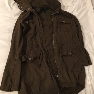Forever 21 brown hooded utility jacket